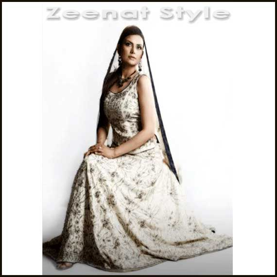 Aleena Khan White Embroidered Lehenga